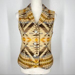 Pendelton Vest 100% Wool Southwest Button Down XS